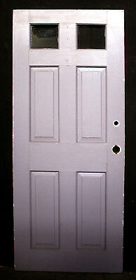 "32""x78"" Vintage Antique Wood Wooden Side Back Entry Exterior Door 2 Window Glass"