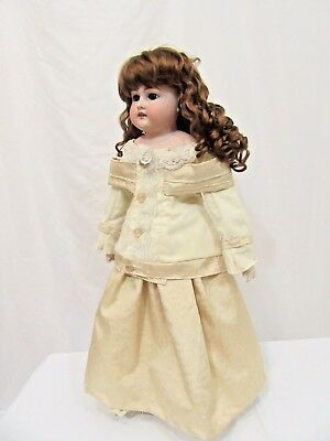 "Armand Marseille Bisque Head Doll with Kid Leather Body 20"" Antique AM 2 DEP 370"