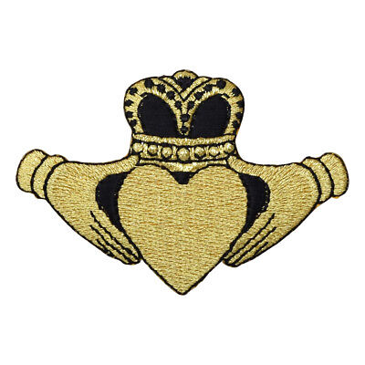 Irish Claddagh Symbol of Love Applique Patch - Black and Gold (Iron on)