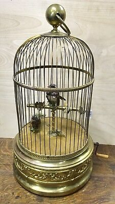 "19th c. BONTEMS FRENCH AUTOMATON DOUBLE SINGING BIRD CAGE MUSIC BOX, 21"" TALL"