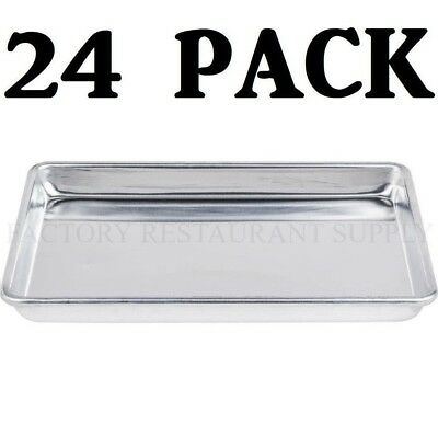"24 PACK Quarter Size Aluminum 13"" x 9 1/2"" Bun Sheet Baking Pan Serving Tray"