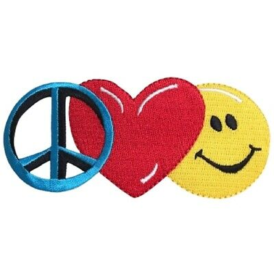 Peace Sign, Heart, Happy Face Patch (Large, Iron on)