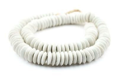 White Ashanti Glass Saucer Beads 14mm Ghana African Large Hole 24 Inch Strand