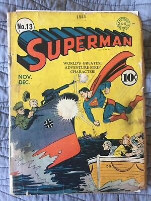 Rare 1941 Golden Age Superman #13 Classic Cover Complete Wow