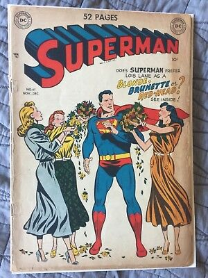 Rare 1949 Golden Age Superman #61 Key Origin Retold Classic Cover Complete