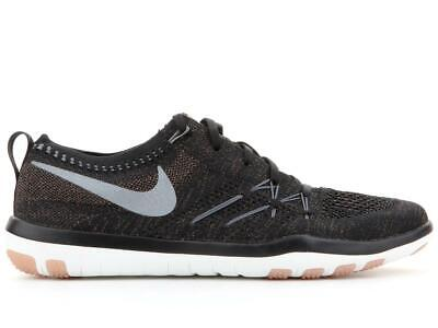 official photos f7ced 11e3b Womens Nike Free TR Focus Flyknit Black Training Trainers 844817 002