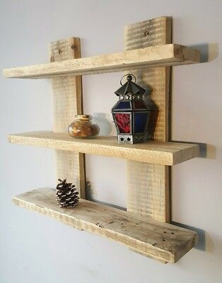 Shelf Display Unit Wall Mounted Floating Rustic Reclaimed Shabby Chic 12 Colours