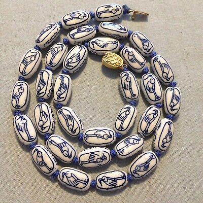 "Vintage Chinese Blue & White Birds Porcelain Ceramic Bead Necklace 24"" Long"