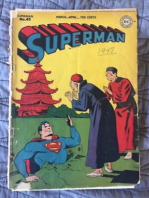 Rare 1947 Golden Age Superman #45 Classic Cover Complete Wow