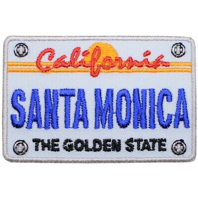 Santa Monica California Patch - License Plate, The Golden State (Iron on)