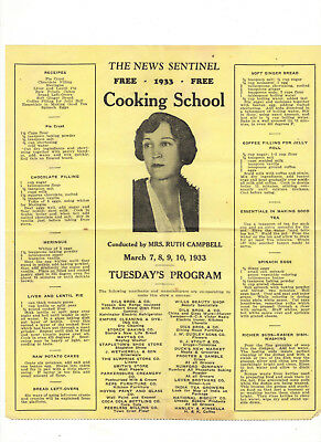 News Sentinel Parkersburg WV 1933 Cooking School Programs Ruth Campbell recipes