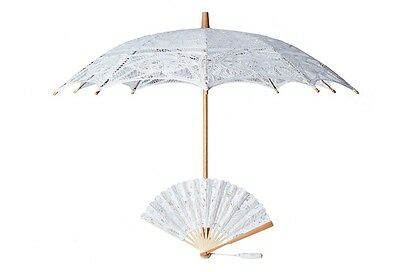 The 1 For U Victorian Lace Parasol and Fan Set in White