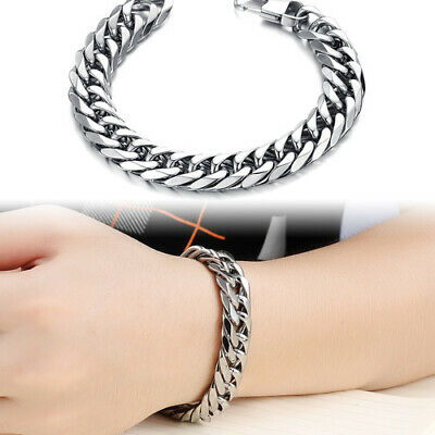 Men Genuine Leather Bangle Cuff Bracelet Stainless Steel Magnetic Clasp+Gift Bag