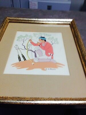 """Harrison Begay """"Boy with a bow and arrows"""" Silk Screen Print"""