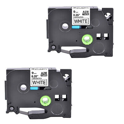 "2PK TZ221 TZe221 Black on White Label Tape for Brother PTouch PT-1280SR 3/8"" 9mm"