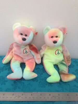 PERFECT PR. #2 PEACE BEARS Plush BEANIES Tags Covers RETIRED Unplayed With