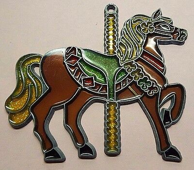 Vintage Carousel Horse Pony Stained Glass Sun Catcher for Window Metal Frame