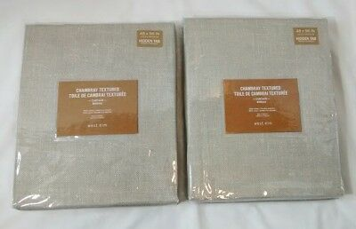 New West Elm Chambray Textured Cotton Platinum Hidden Tab Curtain Panel Pair
