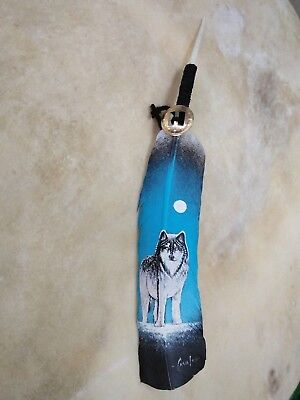 Hand painted feather , WOLF   , ARTS & CRAFTS ,SOUTHWEST ART , SIGNED