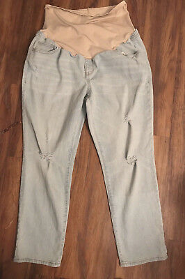 Old Navy Maternity Jeans sz 14 Full Panel Distress Light Denim Capri Sweetheart