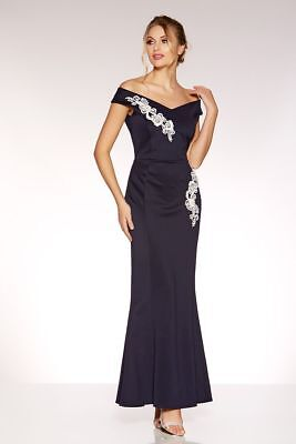 7d7276f0c25 RRP £45 NEW QUIZ Navy And Cream Bardot Embroidered Maxi Dress