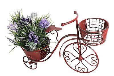 Nostalgic Tricycle Plant Stand Home Garden Decor Iron Flower Pot Cart Holder Red