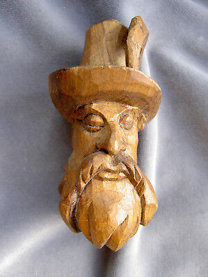 Vintage Carved Wood Head Of Man With Beard Bottle Stopper ?