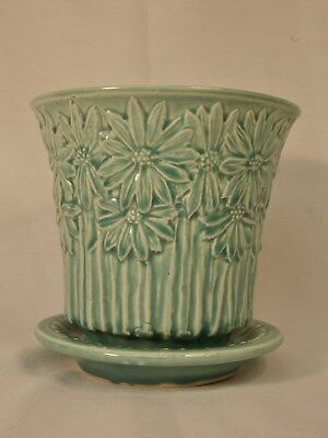 "Vintage McCoy Pottery 5"" Daisy Flower Pot Green Turquoise"