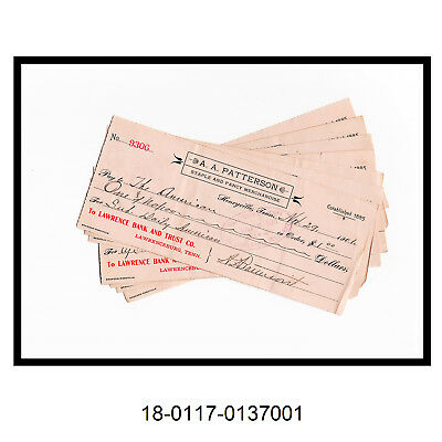 Lot of Eight 1901 Lawrence Bank And Trust Co. Checks