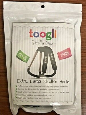 X-Large Stroller Hook Set By Toogli Stroller Baby Accessory, Carabiner for Bags