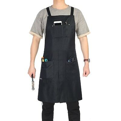 Split-Leg Waxed Canvas Apron, Clya Home Work Apron Utility Apron with Pockets...