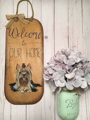 Hand-Painted-Yorkie-Yorkshire-Terrier-Dog-Wood-Welcome-Sign-Wall-Home-Deco