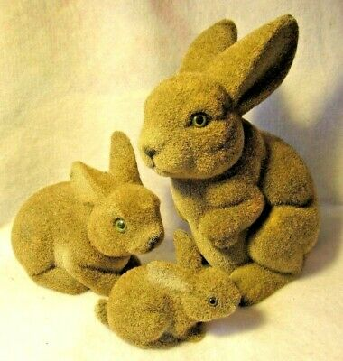 3 Incredibly CUTE Vintage Flocked Bunny Rabbit Figurines Fuzzy Family EASTER 8.5