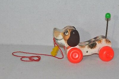 VINTAGE Fisher Price LITTLE SNOOPY Pull Along DOG Wood Shoe #693