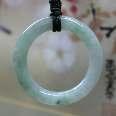 Certified Natural Jadeite JADE Icy Light Green Circle Donut Pendant #J0115