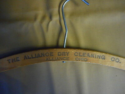 Antique Wood Clothes Hanger Advertising Alliance Ohio Dry Cleaning Vintage