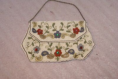 Vintage Antique Handmade Beaded Purse Wallet Clutch