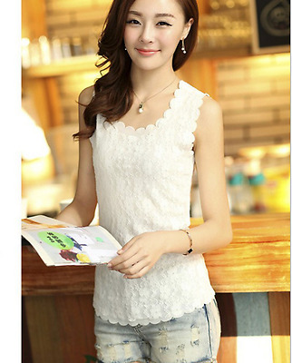 New Womens White Floral Lace Wave Vest  Tank Top Ladies Stunning T-shirt Blouse