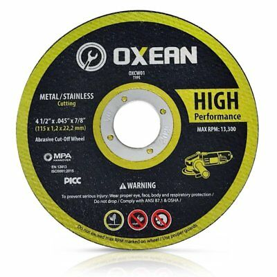 "Oxean 5 Pack - Professional Grinder Cutting Wheels 4 1/2"" x .045 x 7/8-Inch"