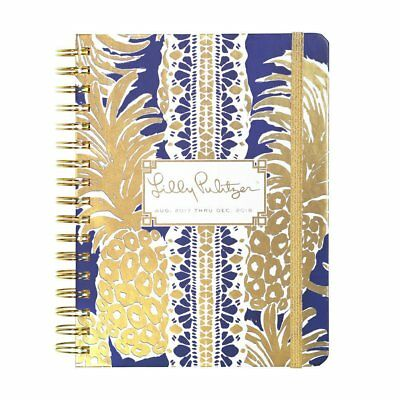 NEW Lilly Pulitzer 2017 2018 LARGE 17 MONTHS AGENDA in Bright Navy Flamenco Gold