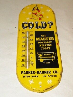 1950s 1960s MASTER HEATER PORTABLE HEAT ADVERTISING THERMOMETER  PIN UP GIRL