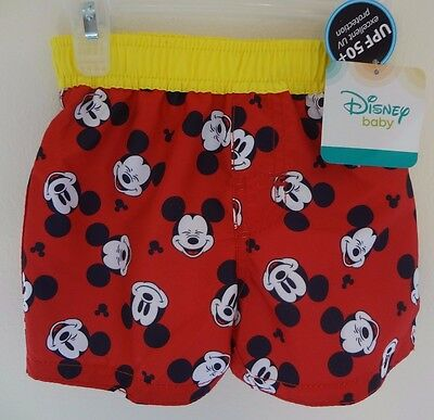 Mickey Mouse Disney Baby new trunks 3-6 mo. Black red yellow SALE PRICE