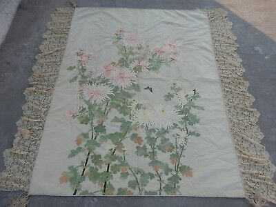 Huge Antique Chinese Hand Embroidered Wall Hanging Panel 19thC (X615)