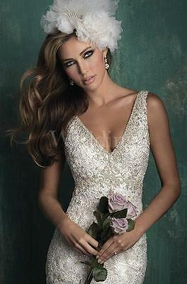 ALLURE COUTURE WEDDING GOWN BRIDAL BRIDE DRESS CRYSTALS LACE IVORY SIZE Sz 12