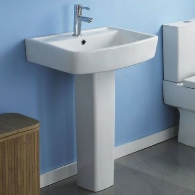 NEW ! 600mm Modern Square Basin Sink and Pedestal White Ceramic Bathroom Po
