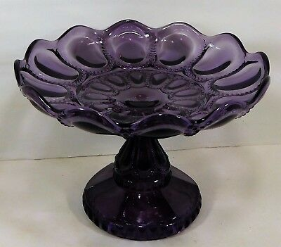 c1900 DEEP PURPLE-AMETHYST PRESS GLASS COMPOTE  8 3/8 in. WIDE # 3