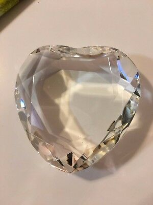 Vintage Diamond Cut By Rosenthal  Clear Crystal Heart Paperweight With Box