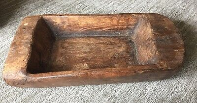 Rare Original Antique Primitive Aafa Solid Wood Dough Bowl Hand Carved