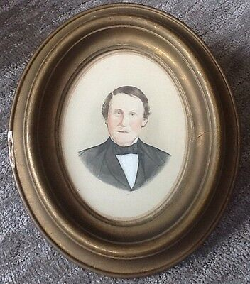 ANTIQUE 19th CENTURY AMERICAN PORTRAIT WATERCOLOR PAINTING B F FERGUSON