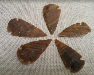 """2"""" inch stone arrowheads 5 striped colors  reproduction bird spear points sa731"""